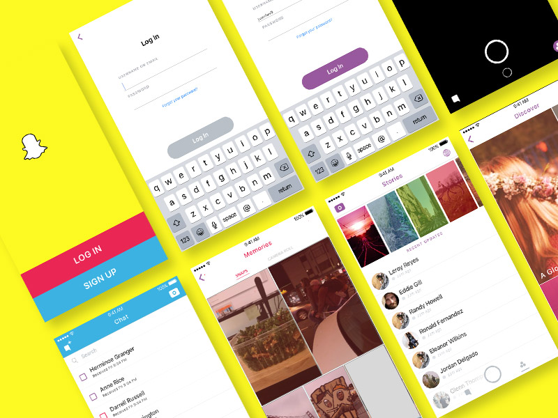 Snapchat UI Kit for Sketch
